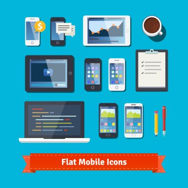 Mobile development flat icons set.