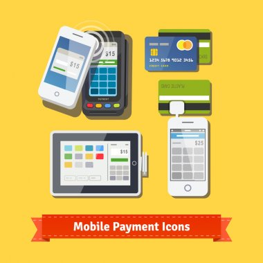 Mobile payment flat icon set.