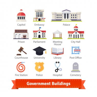 Government buildings colourful icon set.