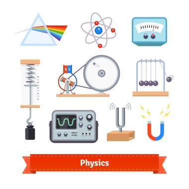 Physics classroom equipment colorful flat icon set. EPS 10 vector. stock vector