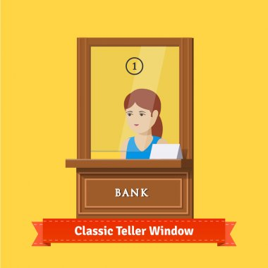 Classic bank teller window with clerk