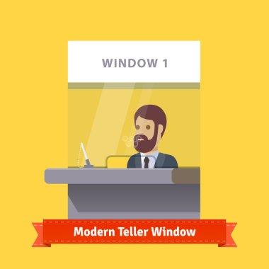 Modern teller window with cashier