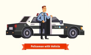 Policeman standing in front of car