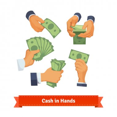 Hands showing green cash
