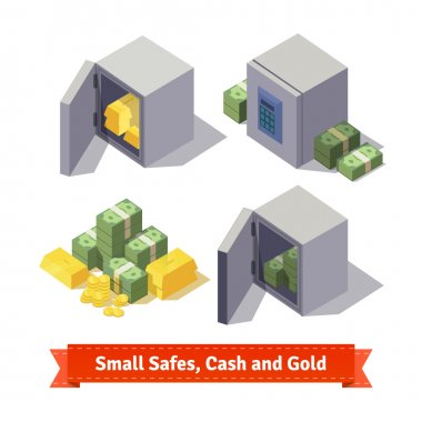 Small safes with gold bars, cash