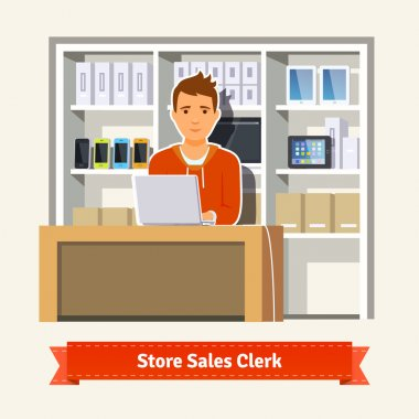 Sales clerk working with customers
