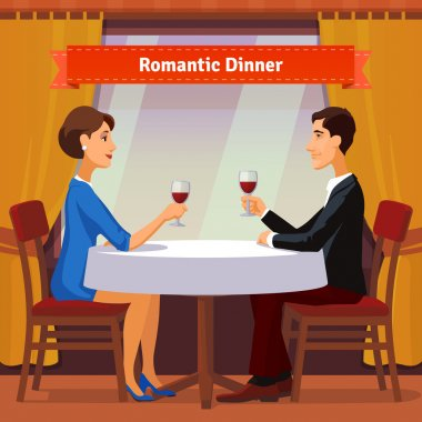 Romantic dinner for two. Man and woman sitting by the window holding glasses of red whine. Table with white cloth and two chairs. Flat style illustration. EPS 10 vector. clip art vector