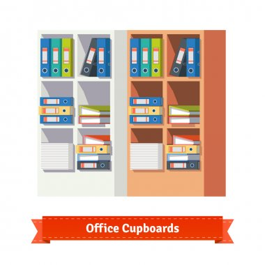 Office cupboards full of binders and papers