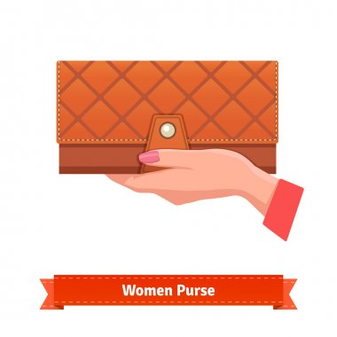 Beautiful woman hand with leather purse