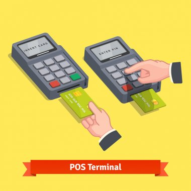 inserting credit card to a POS terminal