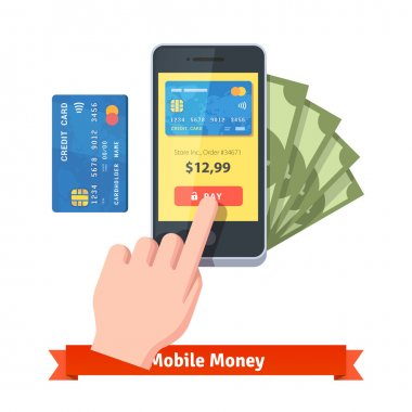 pressing pay button on a smartphone