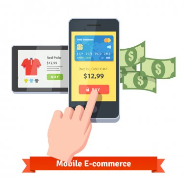 Online shopping and mobile payments concept