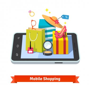 Woman mobile online shopping for accessories