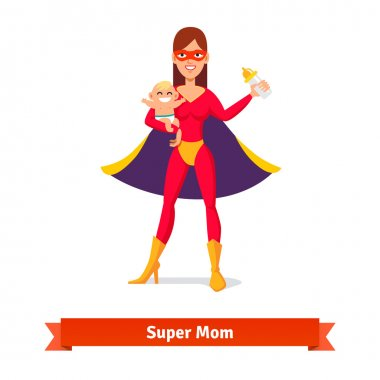 Super mother holding son in arms