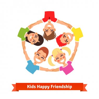 Group of kids holding hands in circle