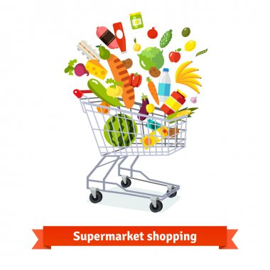 Full shopping grocery cart exploding with goods. Flat isolated vector illustration and icons on white background. stock vector