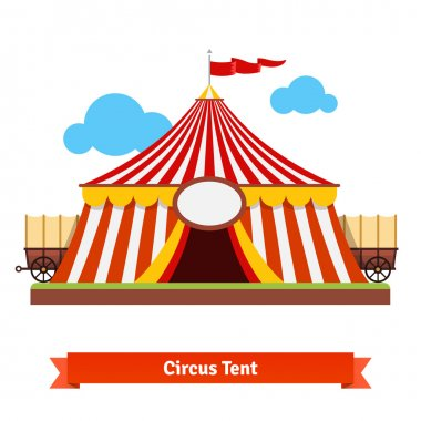 Open circus tent with wagon wheel