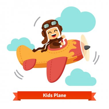 Happy smiling kid flying plane like a real pilot in retro leather flight helmet. Flat style cartoon vector illustration. stock vector