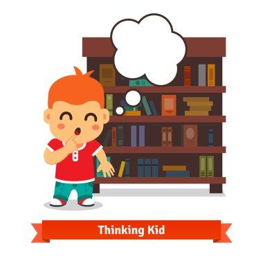 Thinking kid in front of full bookshelf