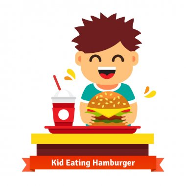 Kid eating at fast food table
