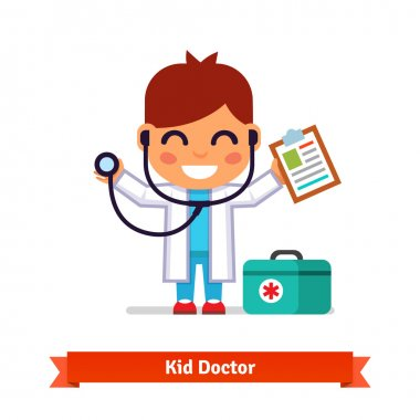 Little boy playing doctor with stethoscope