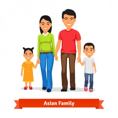 Asian family walking together