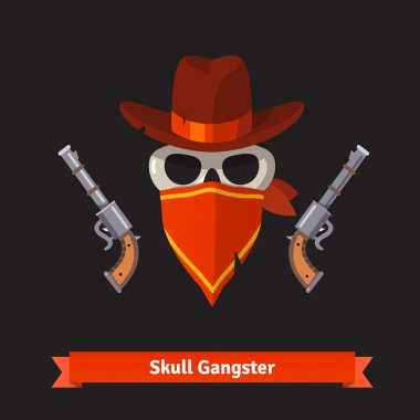 Skull gangster in stetson hat with guns