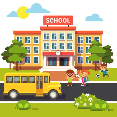 School building, bus and students children