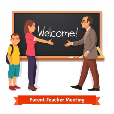 Teacher and parent meeting in classroom
