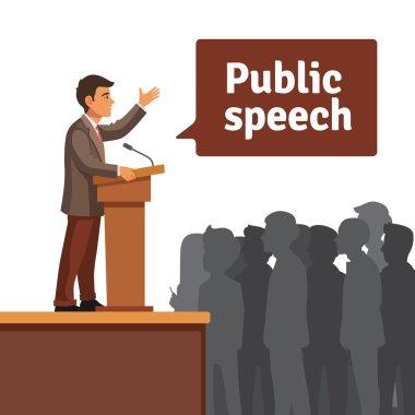 Public speaker standing behind rostrum