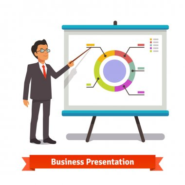 Businessman making presentation explaining charts