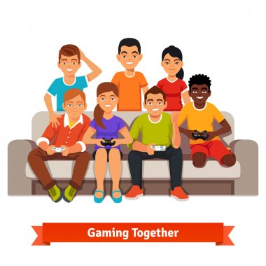 friends having a video games party