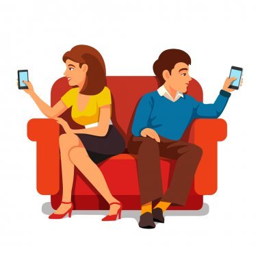 Boy and girl sitting separately with a smarthones.