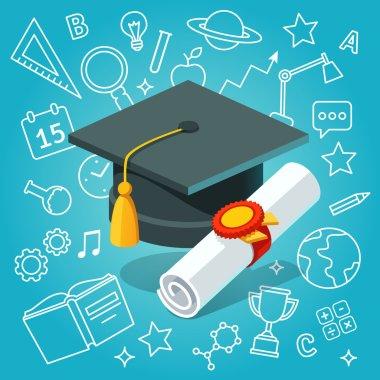 University student cap mortar board