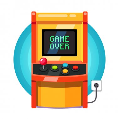 Retro arcade machine plugged in with pixel game over message. Flat style vector illustration isolated on white background. stock vector