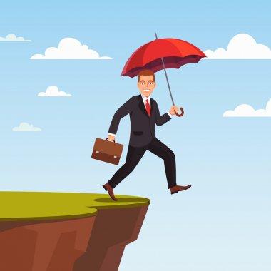 Businessman leap of faith concept