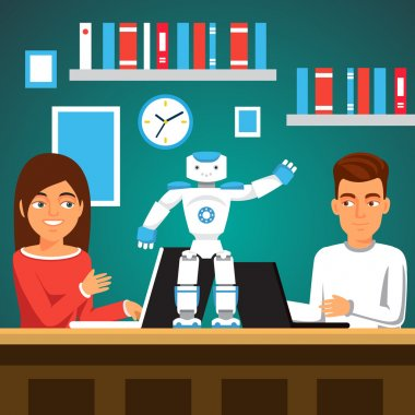 University students man and woman programming