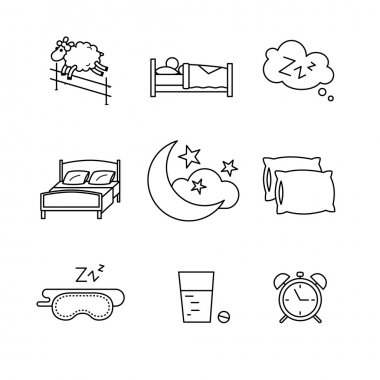 Sleeping art icons set.