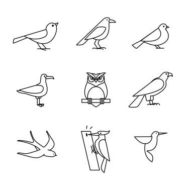 Birds icons line art set