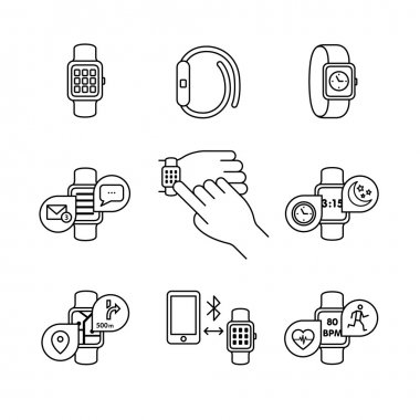 Thin line art icons set.