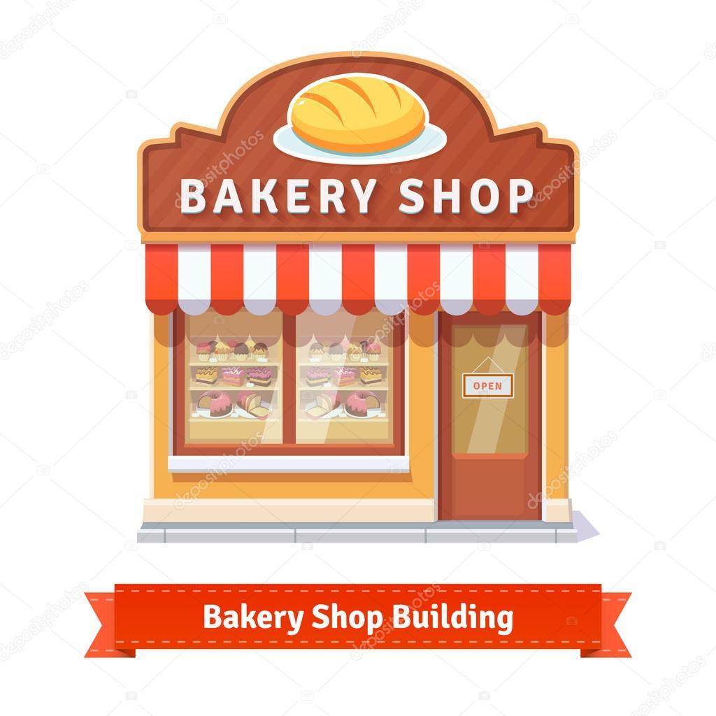建物のファサード看板のパン屋さん ストックベクター Iconicbestiary