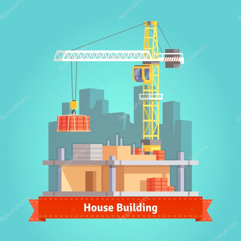 Building of skyscraper house with crane