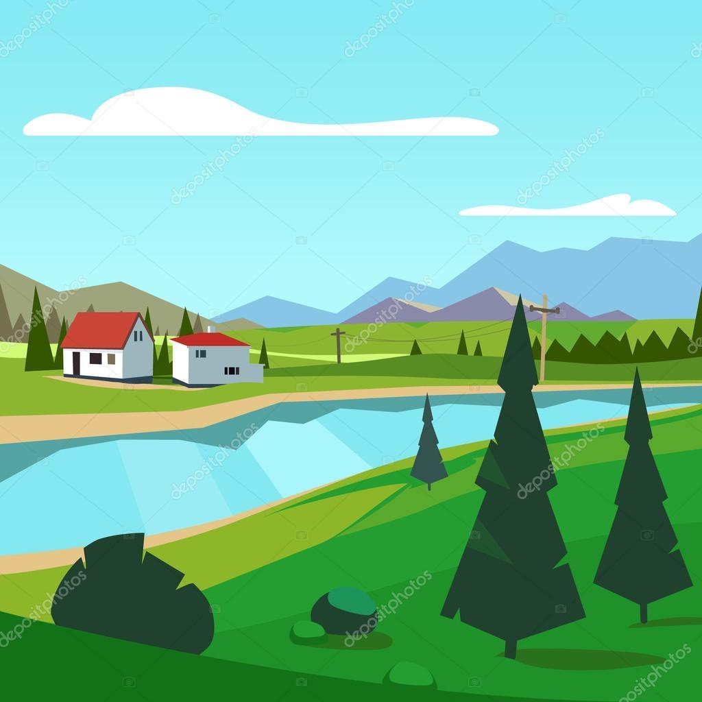 Spring rural farm riverside scenic