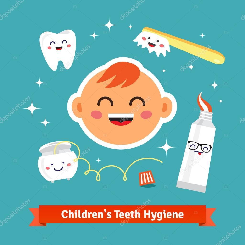 59c529a28 Crianças do dente conjunto de ícones de higiene. Bebê feliz com dentes  saudáveis