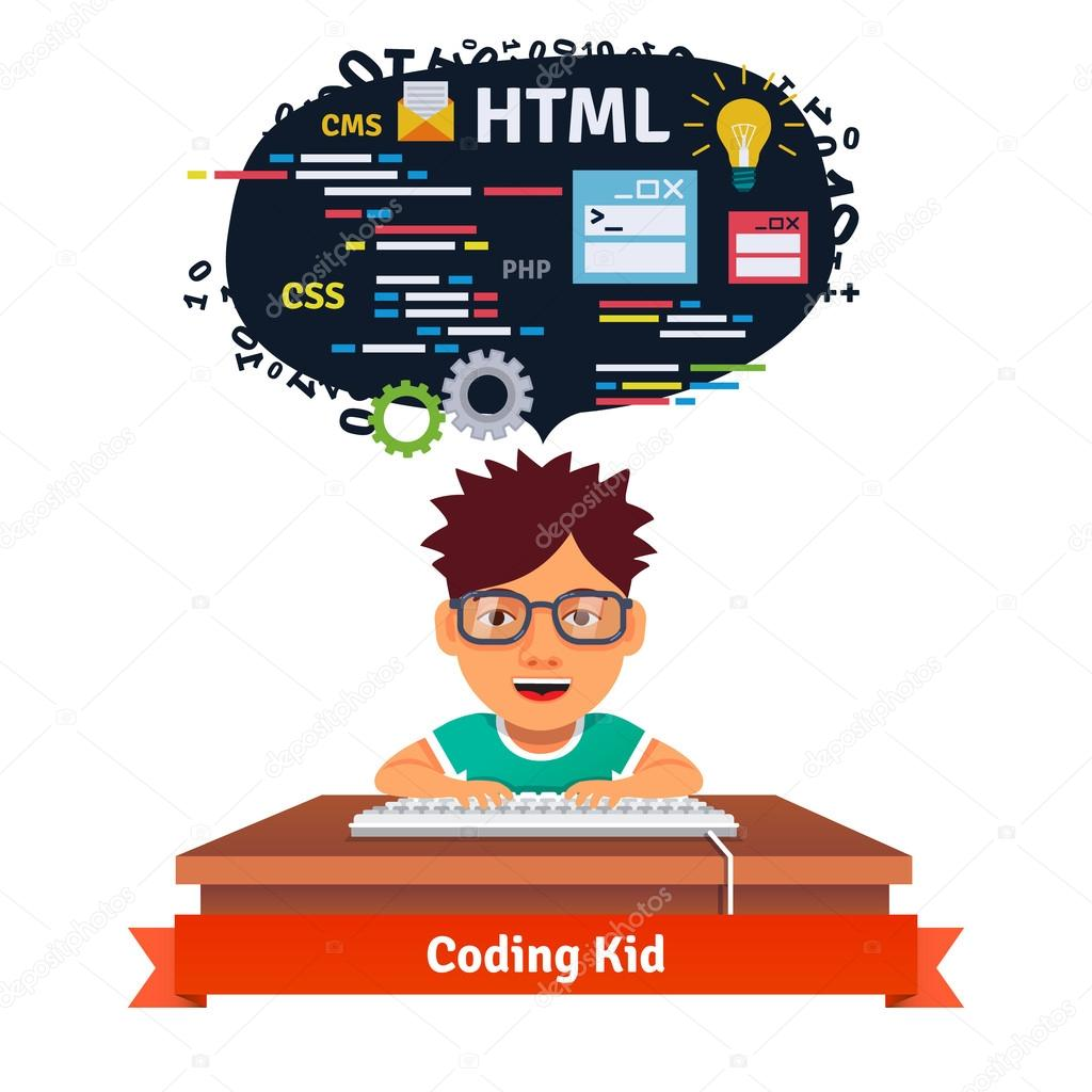 Kid learning web design and coding