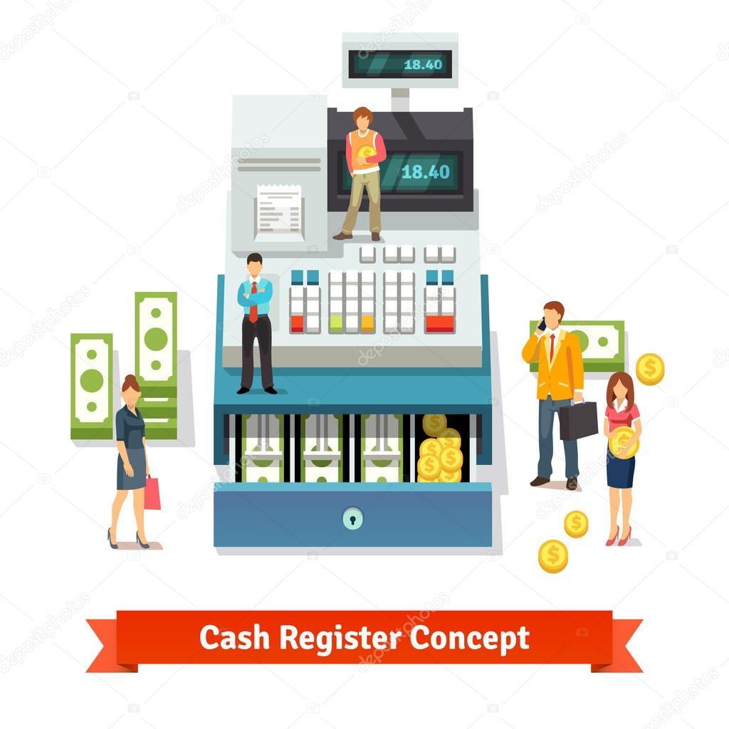 people near opened cash register ストックベクター iconicbestiary