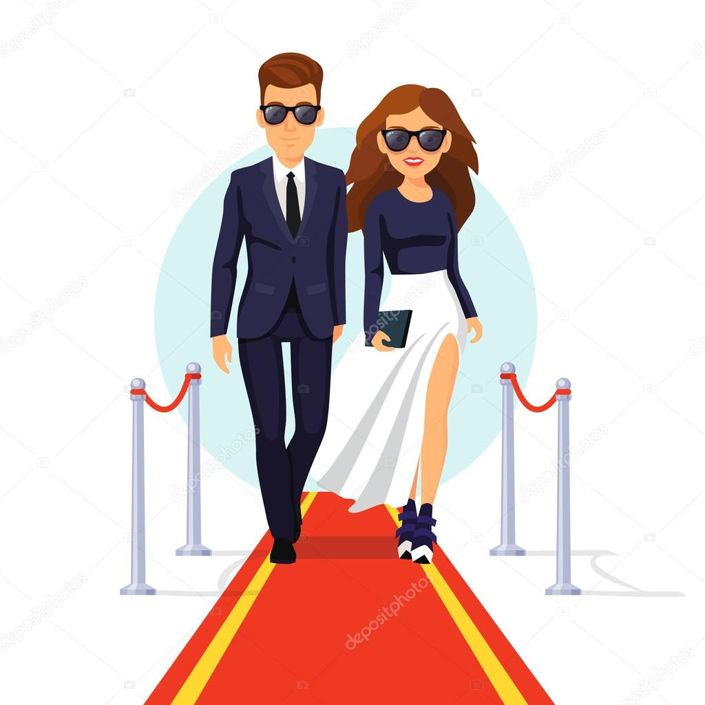 Two rich and beautiful celebrities walking on a red carpet. Flat style vector illustration isolated on white background. stock vector