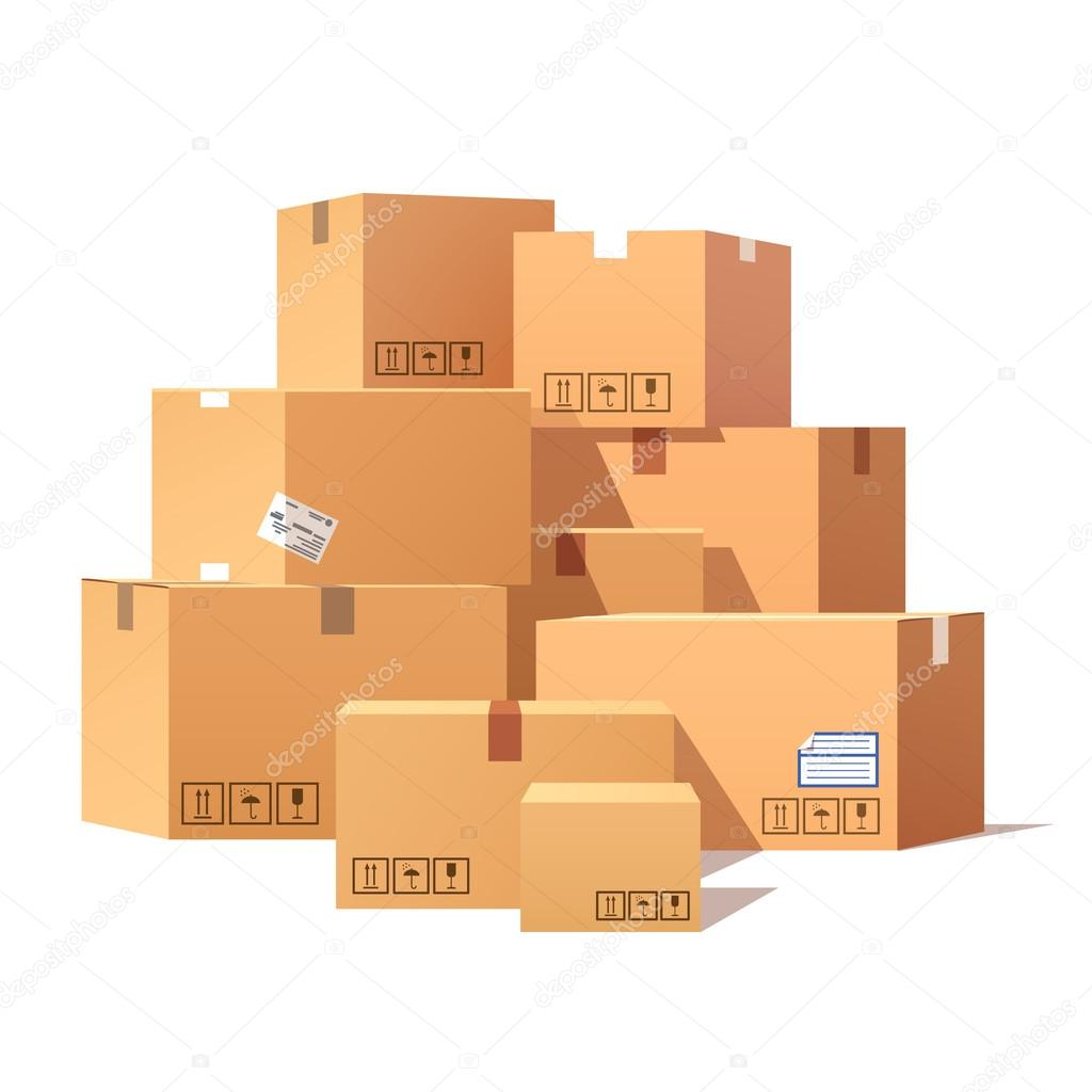 Pile of stacked cardboard boxes