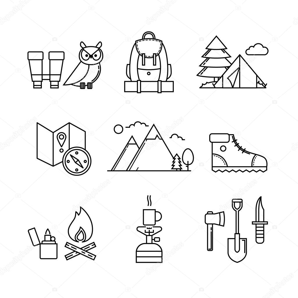 Forest and mountains icons set.