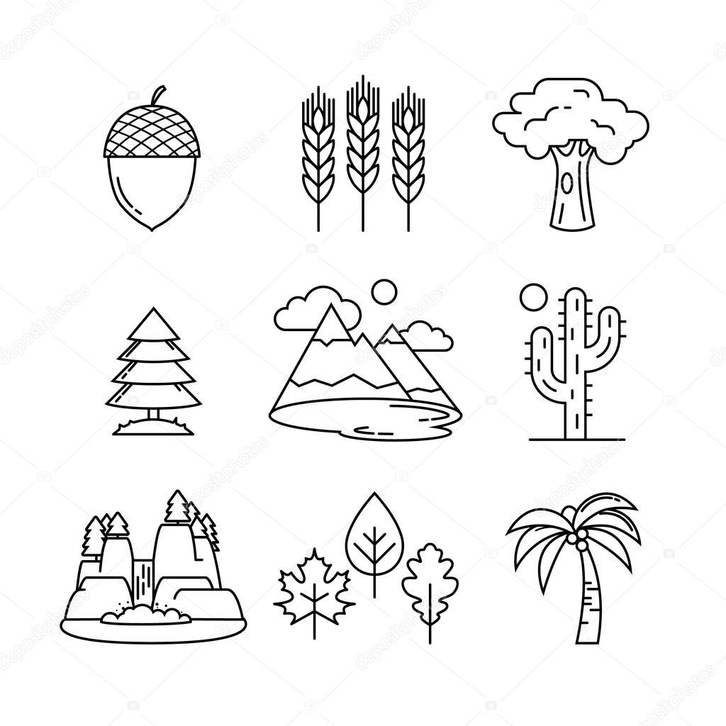 Nature icons set.